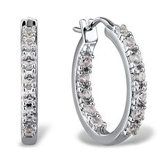White Sapphire Hoop Earrings in Sterling Silver