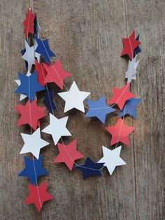 Paper Stars Garland Red White Blue, Patirotic Holiday Decor, USA, July Fourth 4th