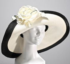 Black Panama Straw Women's Hat Kentucky Derby by Makowsky Millinery
