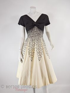 50s Black & Cream Full Skirt Prom or Party Dress - sm by Better Dresses Vintage