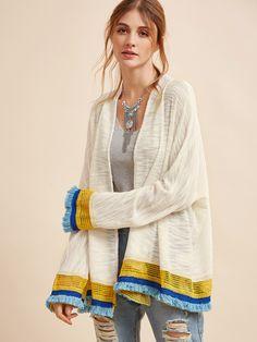 Shop White Contrast Fringe And Crochet Trim Cardigan online. SheIn offers White Contrast Fringe And Crochet Trim Cardigan & more to fit your fashionable needs.