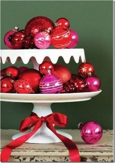 Red Ornaments served up on a platter