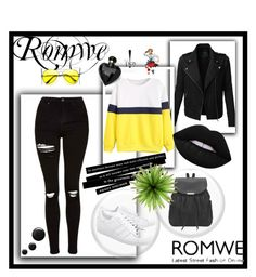 """Romwe"" by emminna ❤ liked on Polyvore featuring LE3NO, Topshop, adidas Originals, Lipsy, Lime Crime and ZeroUV"