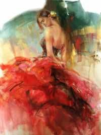 """Artist Anna Razumovskaya:graduated from Russian State University For Arts in 91. From 92-95 studied art in Germany, Belgium,Holland.Looking @ Anna Razumovskaya's works you always get a feeling of artist sole tension behind the painting.""""Romanticism"""" is the word to describe Anna's works...interlacing of a quiet tones w/bright color impact at the end is the trade mark of the artist...abstract elements is a big aspect of every artwork,combo w/sensual dynamics, creates an unforgettable…"""