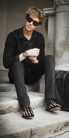 studded loafers in all black