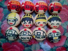 fire engine,Javanese bride,police car motif steamed cupcake