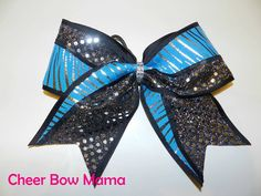 Black & Turquoise Zebra Cheer Bow by Cheer Bow Mama