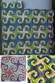 Crochet Blanket Spiral Granny Square                                                                                                                                                                                 More
