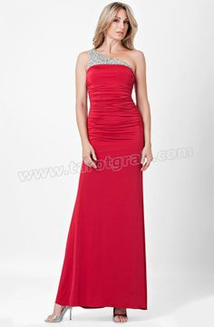 Red Long Beaded One Shoulder Dress