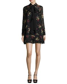 Stevie+Gilded+Daisy+Chiffon+Mini+Dress,+Black+Multi+by+cinq+a+sept+at+Neiman+Marcus.