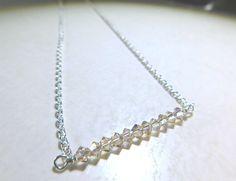Delicate Swarovski Crystal Bar Necklace Silver Chain Layering Minimalist By Jljewellerydesign On Etsy