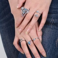A Suit of Vintage Snake Triangle Rings For Women