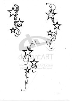 Swirl Tattoos for Women on arms with butterfly  tribal  | STARS WITH SWIRLS by BMXNINJA
