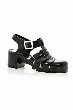 Jelly shoes are back in the form of a blockette heel. Oh how long we've been waiting for this trend to reappear.