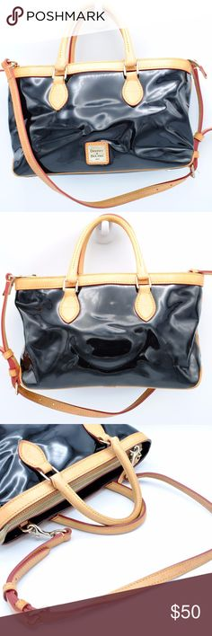 """💕❤Dooney & Bourke Patent Leather Venus Handbag Authentic Dooney & Bourke Black Patent Leather Venus Barrel Satchel / Handbag  Very soft and light leather, folds easily.    Height: 7.5""""  Length: 12"""" Depth: 6.5"""" Strap Drop: 5"""" Lower, 14"""" Upper Color: Black Patent with Brown Leather Straps Condition: Great condition with some minor signs of use. Some small marks on the outside. Please observe photos carefully.   This item has been cleaned and is odor-free! Dooney & Bourke Bags Shoulder Bags"""