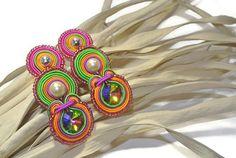 Earring, woman, gift, Swarovski, embroidery, silk, soutache, steinless