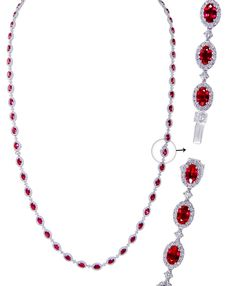 Add a bit of fire to your ice. Interlocking Ruby and Diamond Necklace and bracelet set, can be worn as a longer necklace, or a shorter  necklace and bracelet.