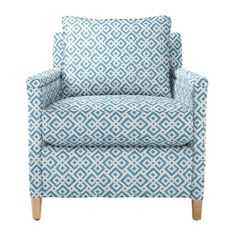 Serena & Lily chair in blue for living room