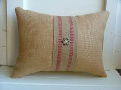 Tan Burlap Holiday Pillow with Red Jute by VintageBloomDesign, $20.00