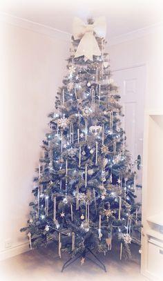 White frosty Christmas tree