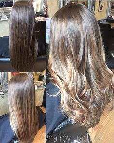 Balayage highlight transformation virgin hair. Hair by Rachel Fife @ Sara Fraraccio Salon in Akron, Ohio