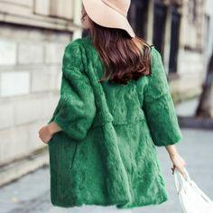 cd2efb9ad5778 Autumn And Winter Thicken Fashion Women Real Fur Coat Pink 11 Colors Medium Long  Warm Natural Rabbit Fur Jacket Coats Plus Size