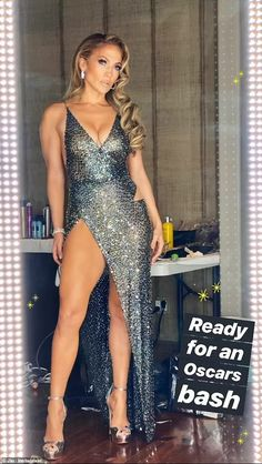 Jennifer Lopez's Oscars Dress Is as Almost as Sexy as That Halftime Show Look - Jennifer Lopez's Julien Macdonald Dress at Oscars Party 2020 - Jennifer Lopez, Oscar Party, Dusty Blue, Emilio Pucci, Dubai Fashion, Runway Fashion, Fashion Fashion, Fashion Trends, Fashion Weeks