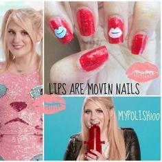 Meghan trainor lips are moving nail art