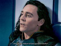 that Loki used the WORST memory against Valkrie to get her OFF of him! He knew her weekness and used it against her YES! THAT's my Loki. Loki Thor, Loki Laufeyson, Marvel Avengers, Loki Gif, Marvel Comics, Thomas William Hiddleston, Tom Hiddleston Loki, Dc Memes, Marvel Memes