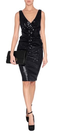 A festive choice for after dark, Donna Karan's gathered side sheath features allover shimmer and a sultry neckline #Stylebop