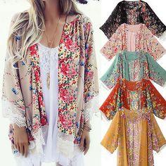 Women Vintage Floral Loose Shawl Kimono Cardigan Boho Chiffon Coat Jacket Blouse