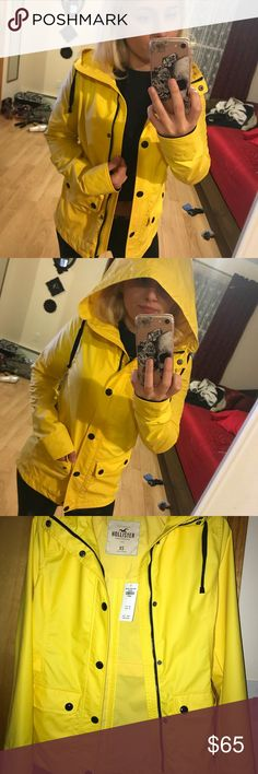 Yellow Rain Coat Never been worn sleek rain coat, perfect condition Hollister Jackets & Coats