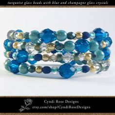 """This fashionable beaded bracelet appears to be a series of colorful bangles but it's actually one coiled spiral. The smooth cool color of turquoise glass beads coordinates with blue, clear, and champagne colored faceted glass crystals, punctuated with small gold glass round beads.  Strung on stainless steel memory wire. The 2 1/4"""" diameter bracelet expands to comfortably coil around your wrist when you put it on. It will fit most people. Gold Glass, Faceted Glass, Glass Beads, Beaded Jewelry, Beaded Bracelets, Unique Jewelry, Turquoise Glass, Rose Design, Round Beads"""