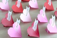 Origami Heart Name Place Cards Red & Pink Hearts with Name Banner by NANAZOOLAN  #wedding #reception #valentines