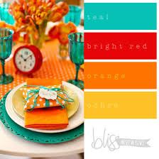 bright orange, red, teal, and yellow color palette