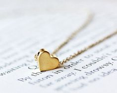 Simple Tiny Heart Necklace on 14k Gold Filled Chain-for Mother's Day, Wedding, Bridesmaid gifts, fashion,Handmade by Maki Y design