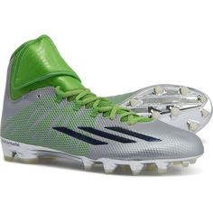 Adidas Platinum ASP Dual Threat Mid Football Cleats, Green and silver, Mens Sz 16M. New with box!  Overview  Up your game performance with these Adidas Platinum ASP Dual Threat mid football cleats, and enjoy lightweight, stable performance from two-a-days through the championship.  Features: SPRINTSKIN synthetic upper is lightweight, durable    and supportive Breathable textile lining Techfit touch-fasten strap Secure-fitting heel cup Cushioned EVA insole QUICKFRAME outsole plate enhances… Men's Football, Football Cleats, Adidas Cleats, The Championship, Adidas Men, Plate, Touch, Box, Heels