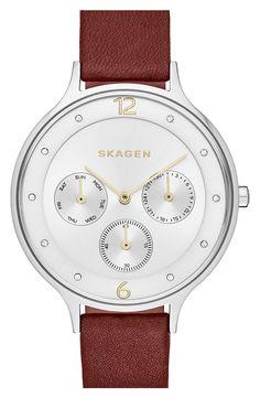 Skagen'Anita' Multifunction Leather Strap Watch, 36mm