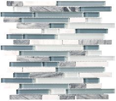 Bliss random strip glass and stone mosaic tiles.A nice poppy mix of light blue, gray, and white tile blend nicely with gray stone and white marble strips in this popular linear glass tile. Also availa
