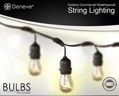 Amazon.com : Outdoor String Lights with 15 E26 Sockets By Deneve® - 48 Feet Long with 15 Sockets Spaced 3 Feet Apart - Connect up to 4 Strands End-to-end - Lights Outdoor Settings With Warm Romantic Ambience - Lighting Outdoor - Outdoor Lighting - Patio Lights & Patio String Lights - Best Used with Outdoor Bulbs - Perfect for Backyards, Gazebos, Patios, Gardens, Pergolas, Decks, City Rooftops, Weddings, Bbq, Dinner Parties, Holidays - String Lights Outdoor - Industry-leading 14 AWG Thickest…