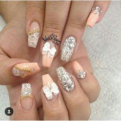 35 Elegant Lace Nail Art Designs For You Sexy Nails, Hot Nails, Hair And Nails, Fabulous Nails, Gorgeous Nails, Pretty Nails, Lace Nail Art, Lace Nails, Nail Art Designs