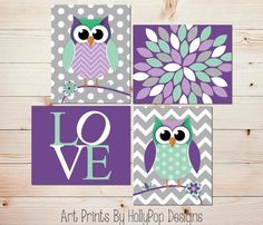 purple and turquoise Owl Room Accessories | ... .etsy.com/listing/187127264/owl-nursery-nursery-decor-modern-nursery