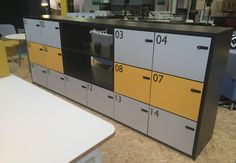 Storage wall lockers, efficient office space As  seen at 100% design - #LDF #Furniture #Interiors #Architects