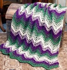 Forest Ripple Crochet Throw
