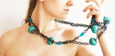 black chain with azure balls
