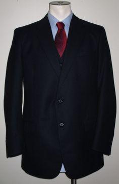 Men's Woodmere 3 Piece Suit Gray Pinstripe 42L - Pants 40x29 - 2 Button - Wool #Woodmere #TwoButton