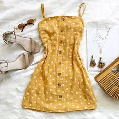 Dresses - Mellow yellow The Only Wanna Hear Love Songs Dress comes in a perf shade of yellow It's also available in blush and wine Shop now via… WomenFashionQuotes Cute Summer Outfits, Spring Outfits, Trendy Outfits, Mode Outfits, Girl Outfits, Fashion Outfits, Dress Outfits, Yellow Dress Summer, Simple Summer Dresses