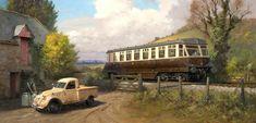 Great Western Railway Railcar. Painting by Rob Rowland GRA