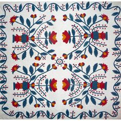 Pride of Iowa  -  Pot of Flowers appliqué trapunto quilt PROVENANCE This item is currently listed at www.rubylane.com to be included in the #RubyRedTagSale at 30% off beginning at 8 am PDT on 7/19/16. @rubylanecom