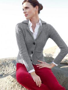 100% Cashmere V Neck Pockets Jacket-Cashmere 1873.COM